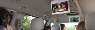 2nd-row overhead 9-inch video screen and DVD console